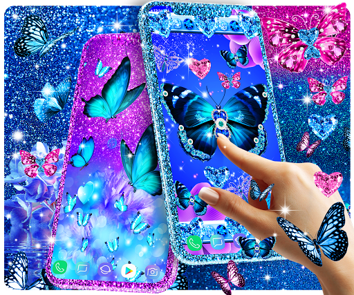 Blue glitter butterflies live wallpaper apktram screenshots 1
