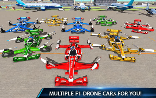 Flying Formula Car Games 2020: Drone Shooting Game apktram screenshots 4