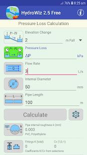 HydroWiz - Pipe Flow Hydraulic Calculations (FREE)