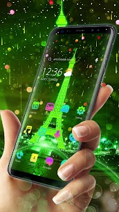 Neon Green Eiffel Tower-APUS Launcher theme 77.0.1001 Mod APK Updated Android 1