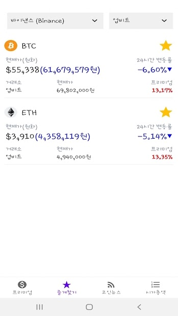 코인 프리미엄 - 김치프리미엄 가상화폐 비트코인 screenshot 1