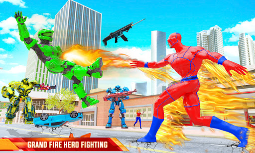 Flying Police Robot Fire Hero: Gangster Crime City apkslow screenshots 2