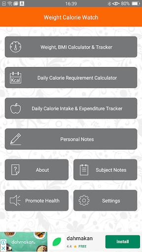 Weight Calorie Watch 3.2 Screenshots 1