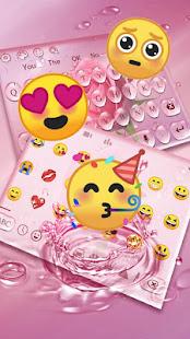 Pink Rose Water Drop Keyboard