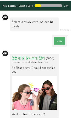 HELLO KOREAN u2013 Learning Korean with chatbot, K-POP  screenshots 3