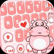Pink Cute Hippo Keyboard Theme