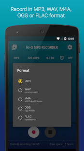 Hi-Q MP3 Voice Recorder (Pro) Screenshot