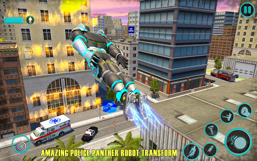 Flying Panther Robot Hero Game:City Rescue Mission apkmartins screenshots 1