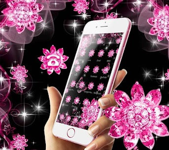 Pink Black Glitter Diamond Flower Sparkling Theme 1.1.3 [MOD APK] Latest 2