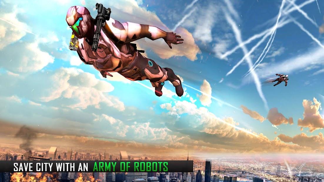 Screenshot 5 de Robot volar Grand City Rescate para android