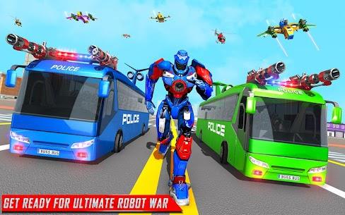 Flying Bus Robot Transform War Mod Apk- Police Robot (Dumb Enemy) 9