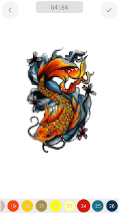 Tattoo Pixel Art Draw Book Page Color By Number
