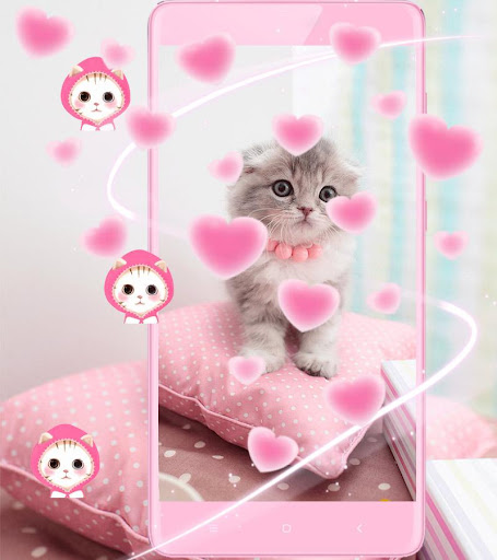 Pink Cute Kitty Cat Theme 1.2.4 screenshots 3