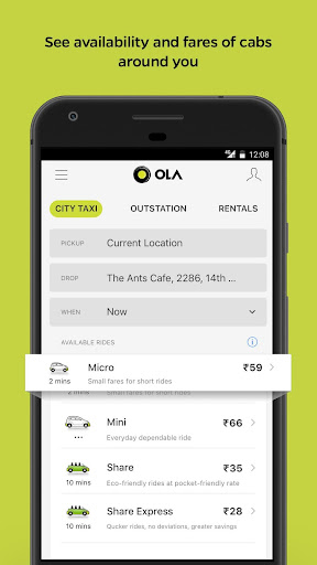 Ola Lite: Lighter Faster Ola App. Book Taxi & Cabs  Screenshots 1