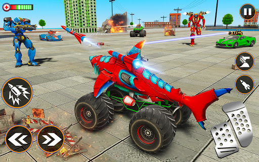 Monster Truck Robot Shark Attack u2013 Car Robot Game 2.1 screenshots 13