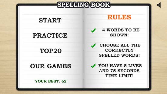 Schermata del libro di ortografia PRO