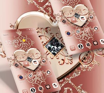 Rose Gold Diamond Heart Luxury Theme 5