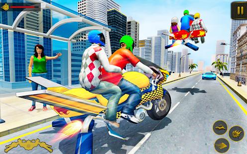 Flying Hover Bike Taxi Driver City Passenger Sim screenshots 13
