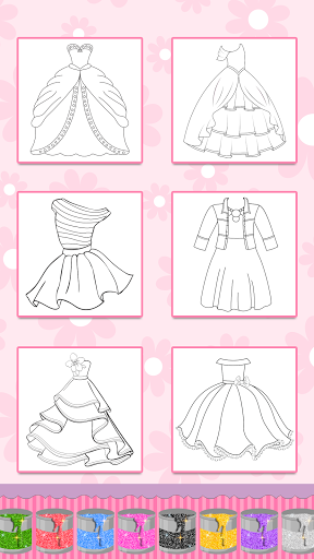 Glitter Dress Coloring Pages for Girls  Screenshots 8