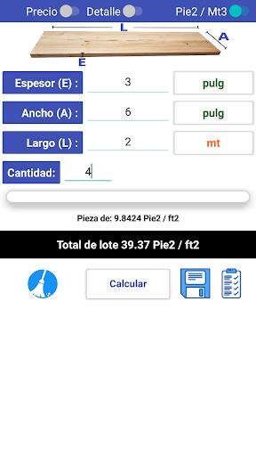 calculador madera pie tablar screenshot 2