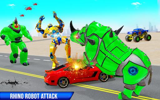 Rhino Robot Monster Truck Transform Robot Games  screenshots 17
