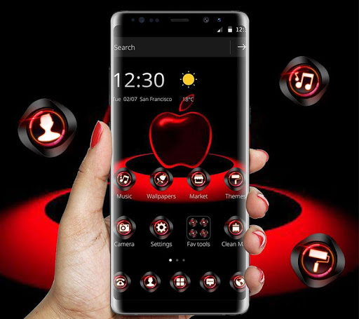 Red Neon Apple Dark Theme Apk 1