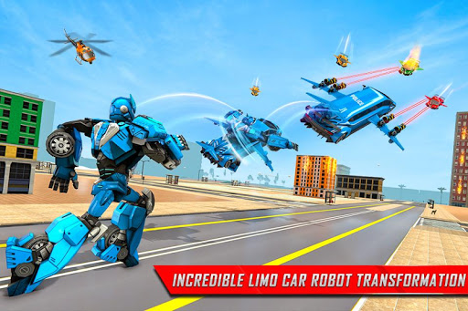 Flying Limo Robot Car Transform: Police Robot Game  screenshots 3