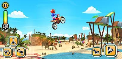 Superhero Beach Bike Stunt Games: Motocross Racing