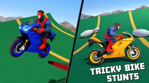 Superhero Tricky bike race (kids games)  Screenshots 6