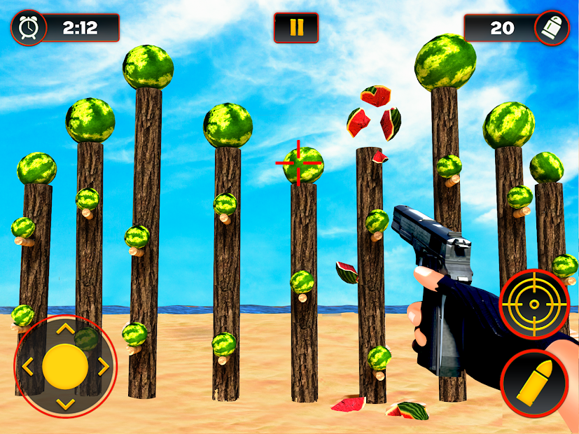 Captura de Pantalla 5 de Sandía Shooter Juego - Fruta del tiroteo para android