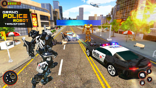Flying Grand Police Car Transform Robot Games  Screenshots 6