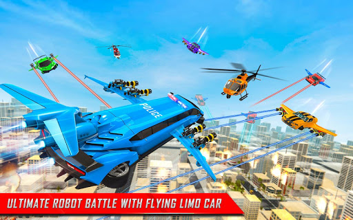 Flying Limo Robot Car Transform: Police Robot Game  screenshots 14