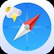 Smart compass app: weather forecast, GPS location
