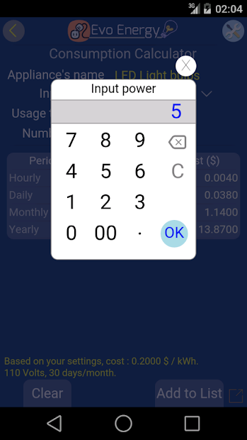Screenshot 8 de EvoEnergy - Electricity Cost Calculator Free para android