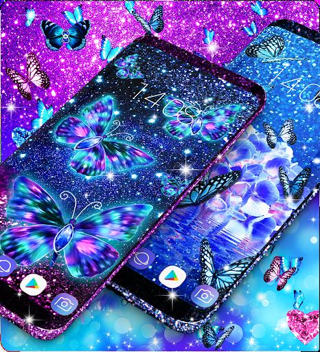 Blue glitter butterflies live wallpaper apktram screenshots 2
