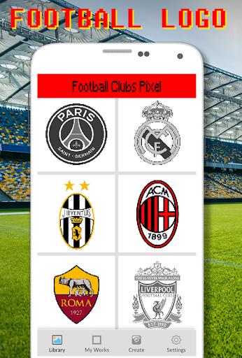 Football Logo Coloring By Number - Pixel Art apklade screenshots 1