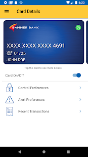 Banner Bank Debit Card Control