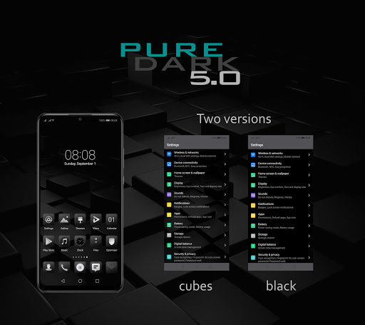 [emui 9.1]pure dark 5.0 theme screenshot 1