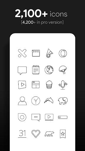 lines dark - black icons (free version) screenshot 2