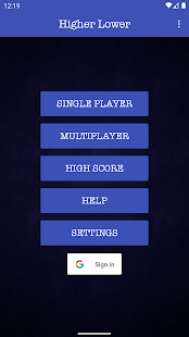 Higher Lower Card Game Screenshot