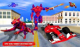 Wild Wolf Robot Transforming Flying Car Robot Game