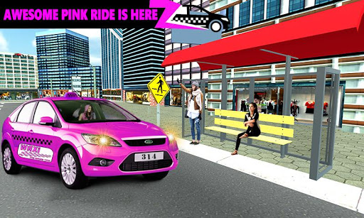 New York Taxi Duty Driver: Pink Taxi Games 2018  screenshots 17