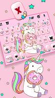 screenshot of Pink Unicorn Donut Keyboard Theme