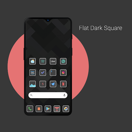Download APK: Flat Dark Square – Icon Pack v2.1 [Patched]