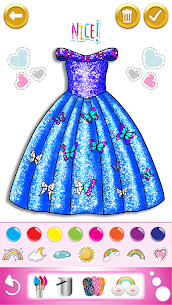 Glitter dress coloring and drawing book for Kids 1