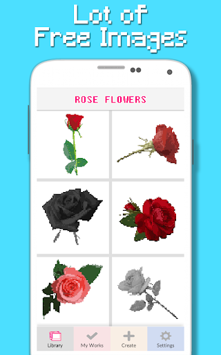 rose flowers coloring book, color by number pixel screenshot 1