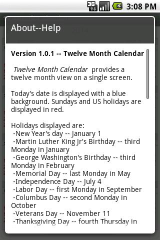 Twelve Month Calendar ss3