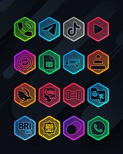 Lines Hexa - Neon Icon Pack - Screenshot 6