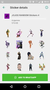 Jojo's Stickers Whatsapp Screenshot