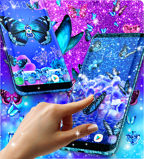 Blue glitter butterflies live wallpaper apktram screenshots 7
